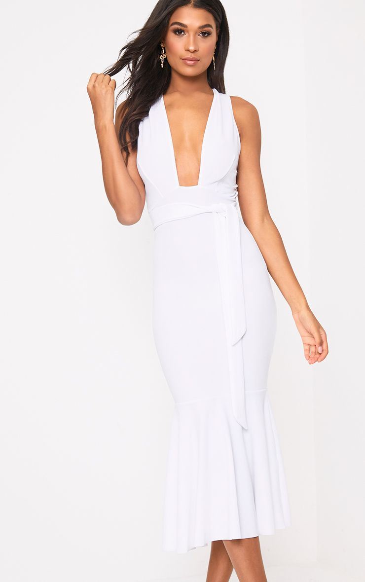 White Plunge Fishtail Midi Dress