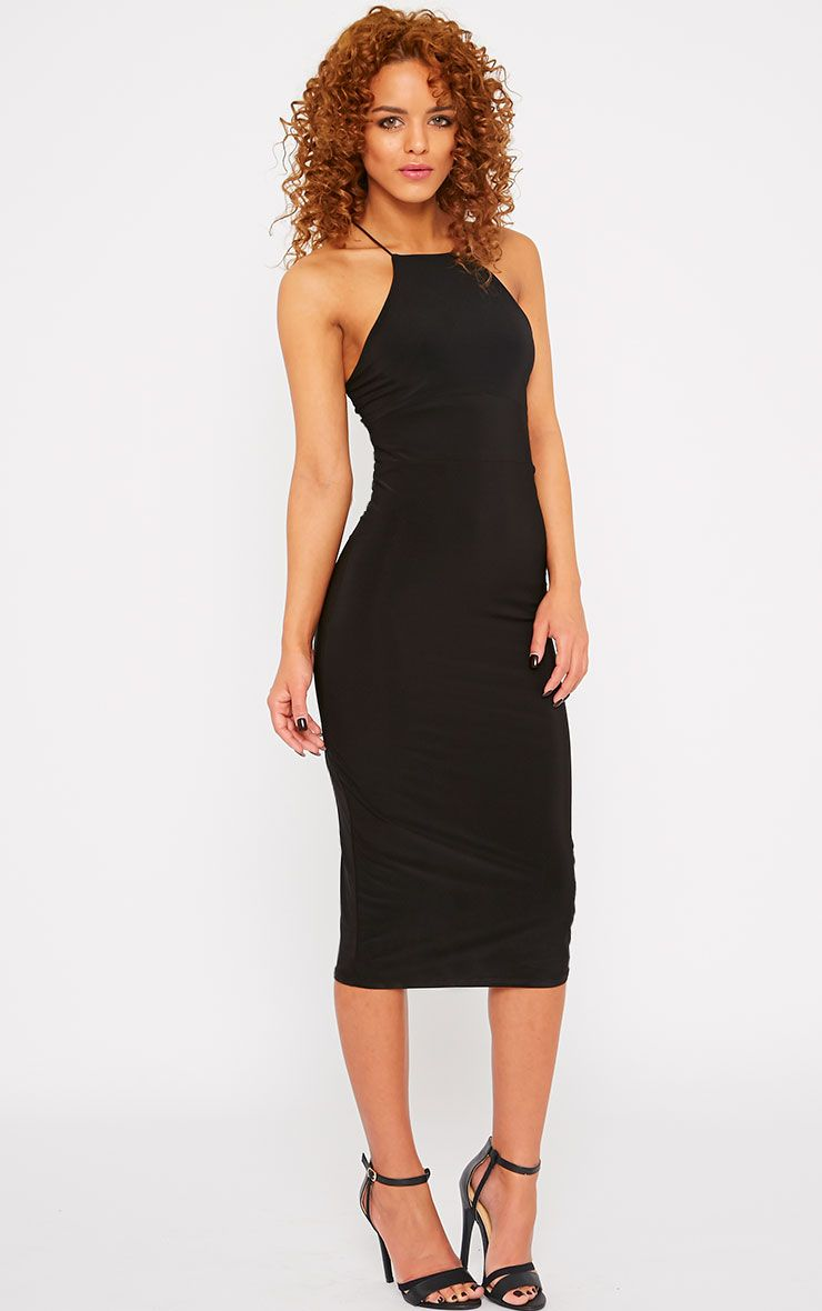 Indiana Black Slinky Racer Neck String Midi Dress 1