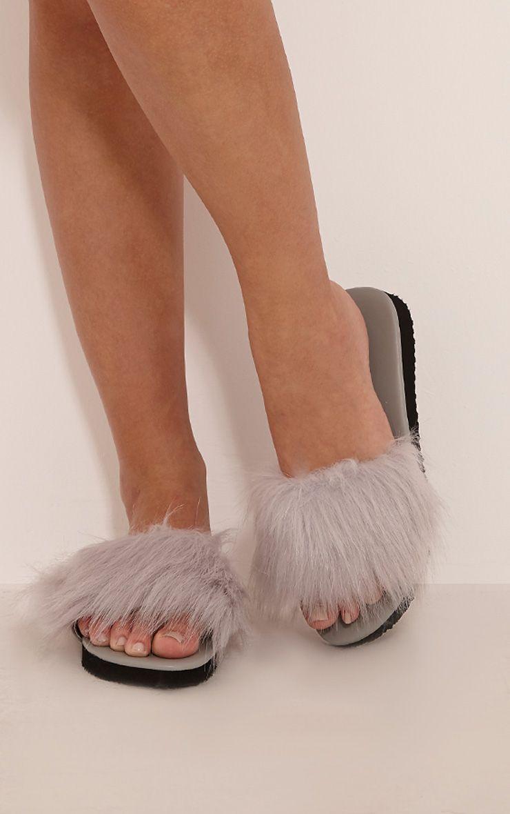 India Grey Fluffy Sliders