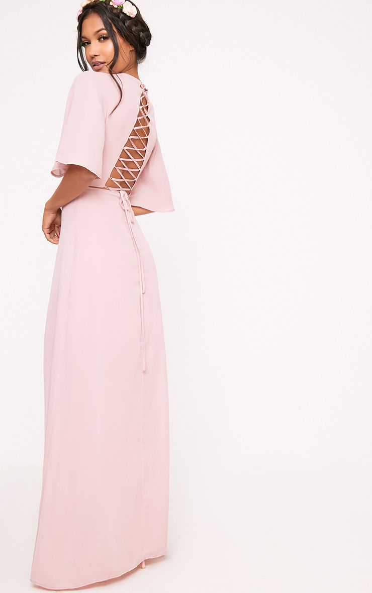 Lucilla Dusty Pink Lace Up Detail Maxi Dress