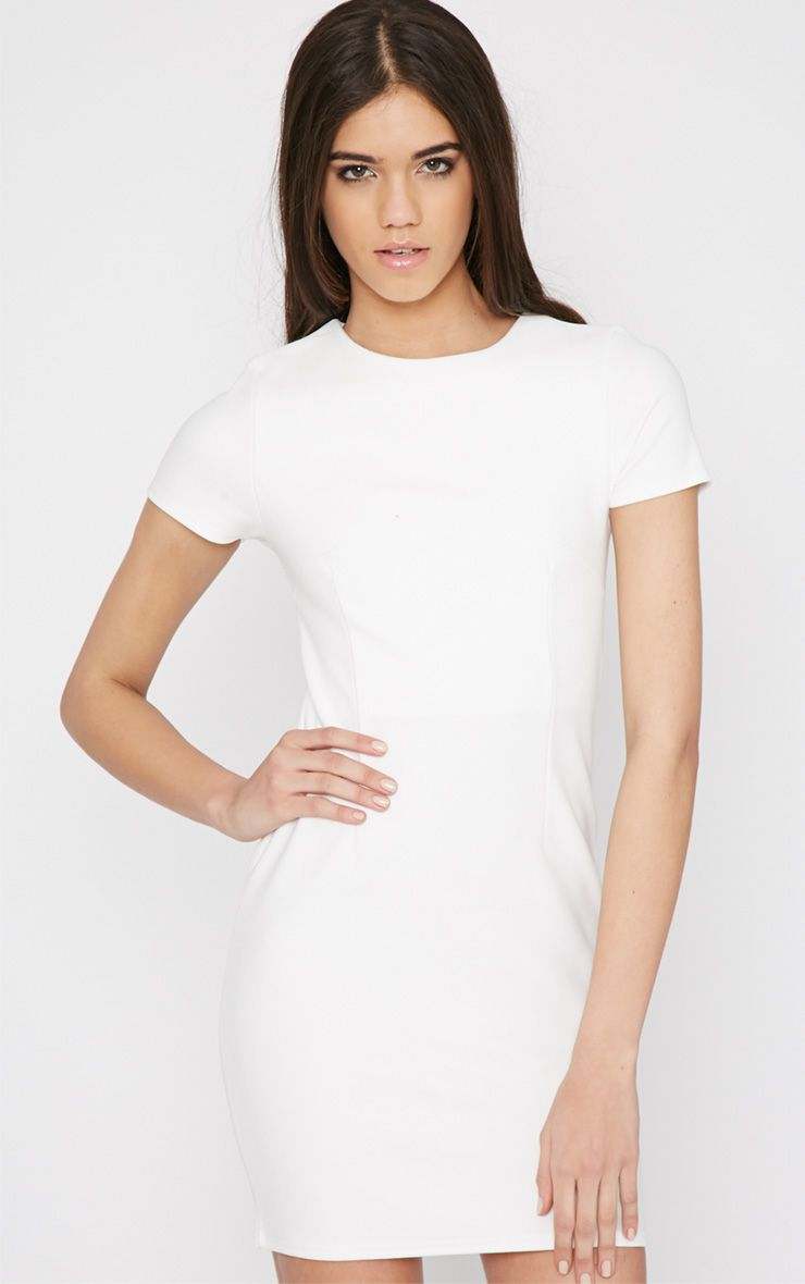 Lillie White Ribbed Bodycon Mini Dress 1