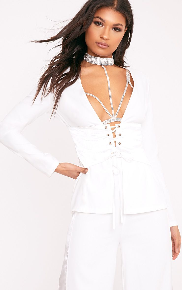 Rayla White Corset Detail Suit Jacket