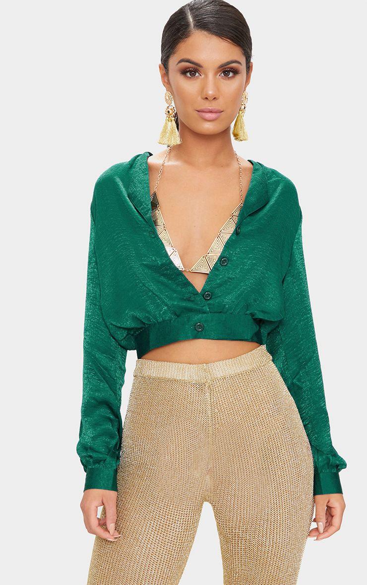 Green Satin Button Front Crop Shirt