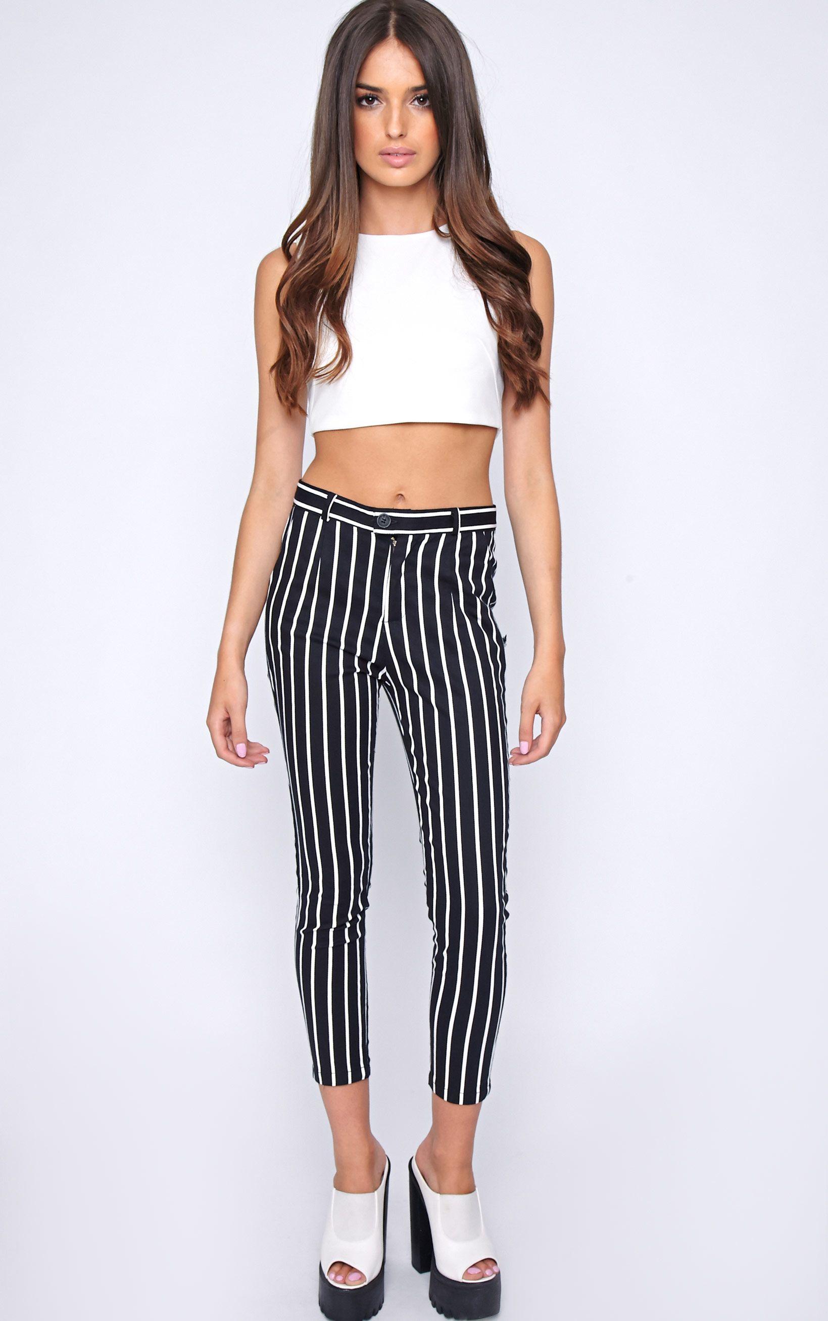 Cassie Black Stripe Cropped Trouser  1