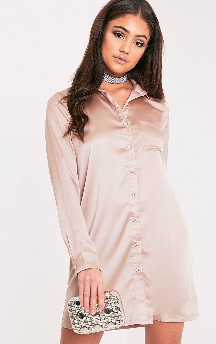 Layla Mocha Satin Shirt Dress