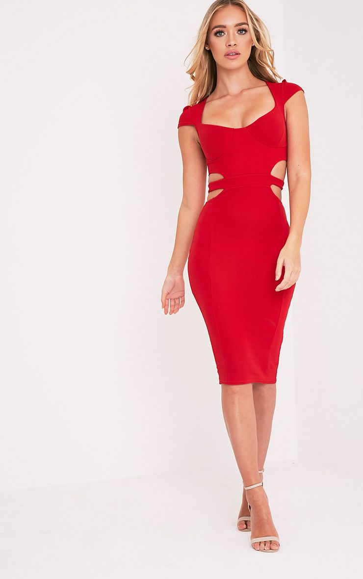 Marrie Red Capped Sleeve Midi Dress 1