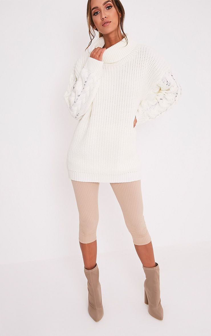 Finolla Cream Oversized Cable Knit Sleeve Jumper 5