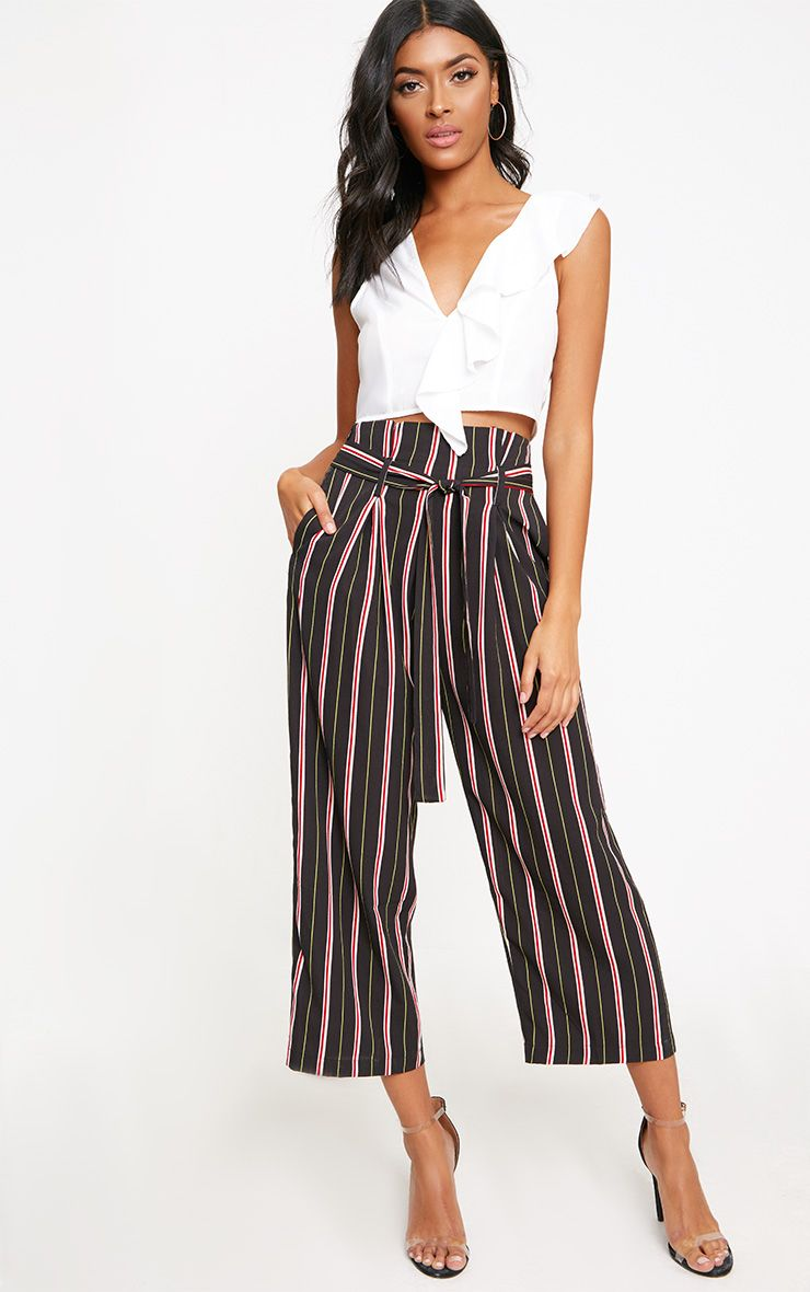 White Stripe Paperbag Wide Leg Trousers