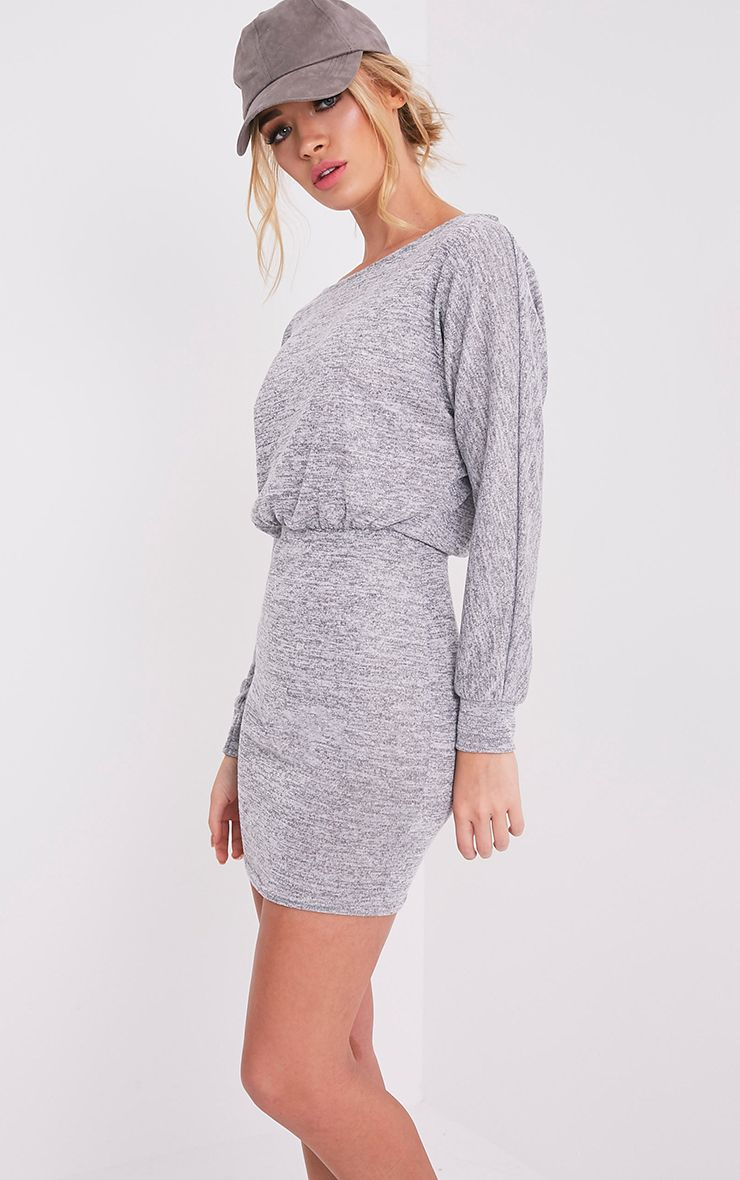 Lerie Grey Waist Fitted Knit Dress 4
