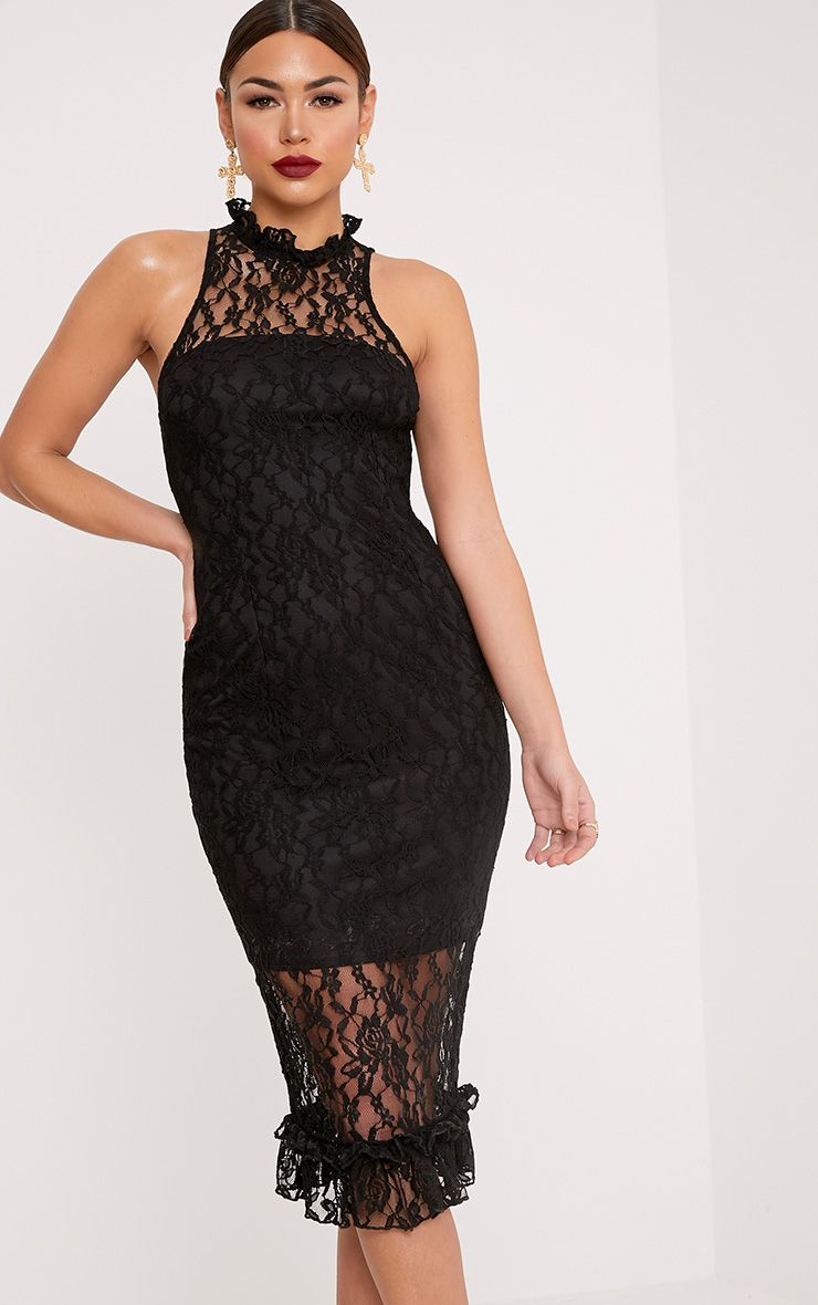 Helen Black Lace Frill Neck Midi Dress
