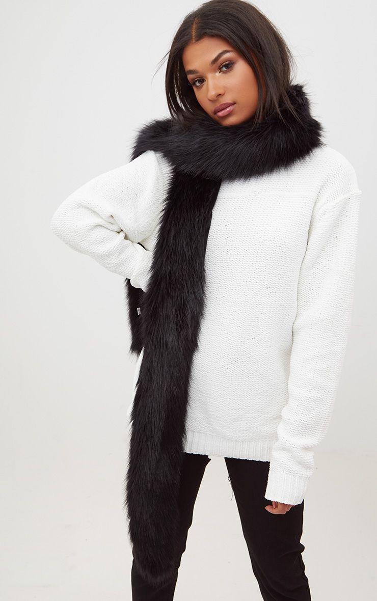 Black Faux Fur Extra Long Scarf
