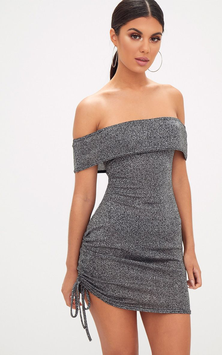 Product photo of Silver glitter ruched side bardot bodycon dress grey