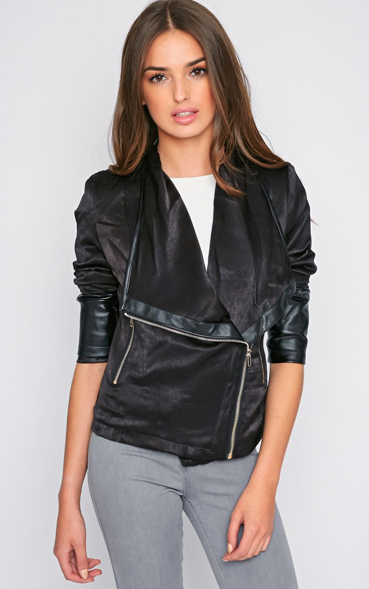 Ravi Black Leather Jacket With Gold Zip Detail 1