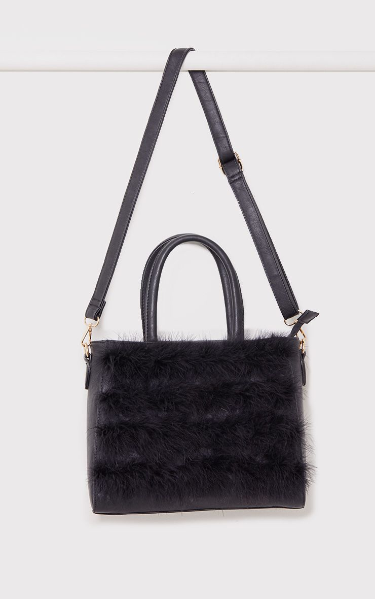 Melina Black Maribu Feather Bag