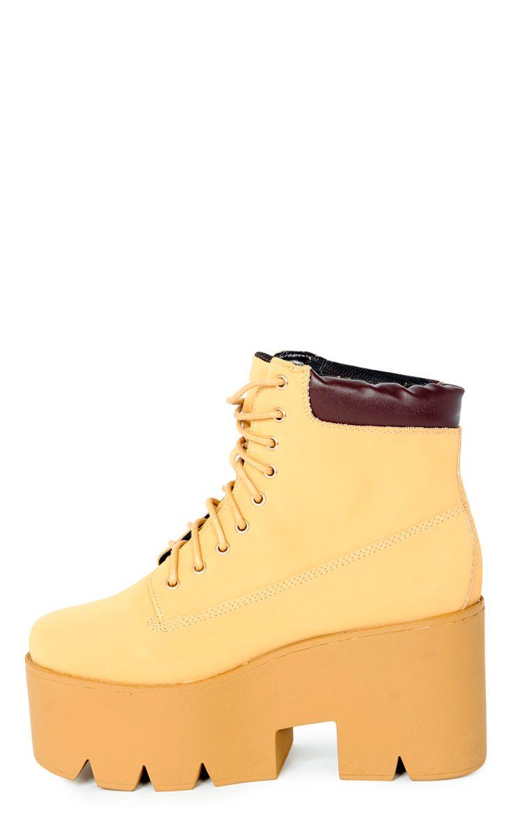 Wendi Honey Nubuck Lace Up Wedged Boot  1