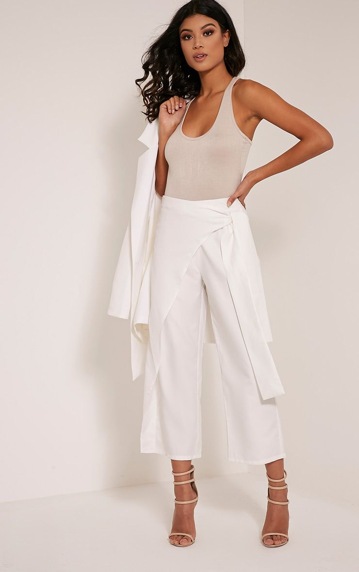 Shirley White Wrap Tie Culottes 1
