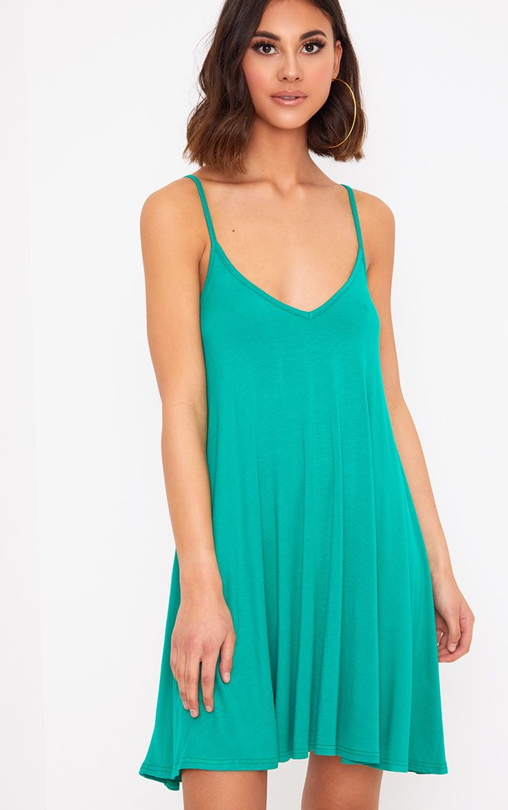 Jade Green Strappy Swing Dress