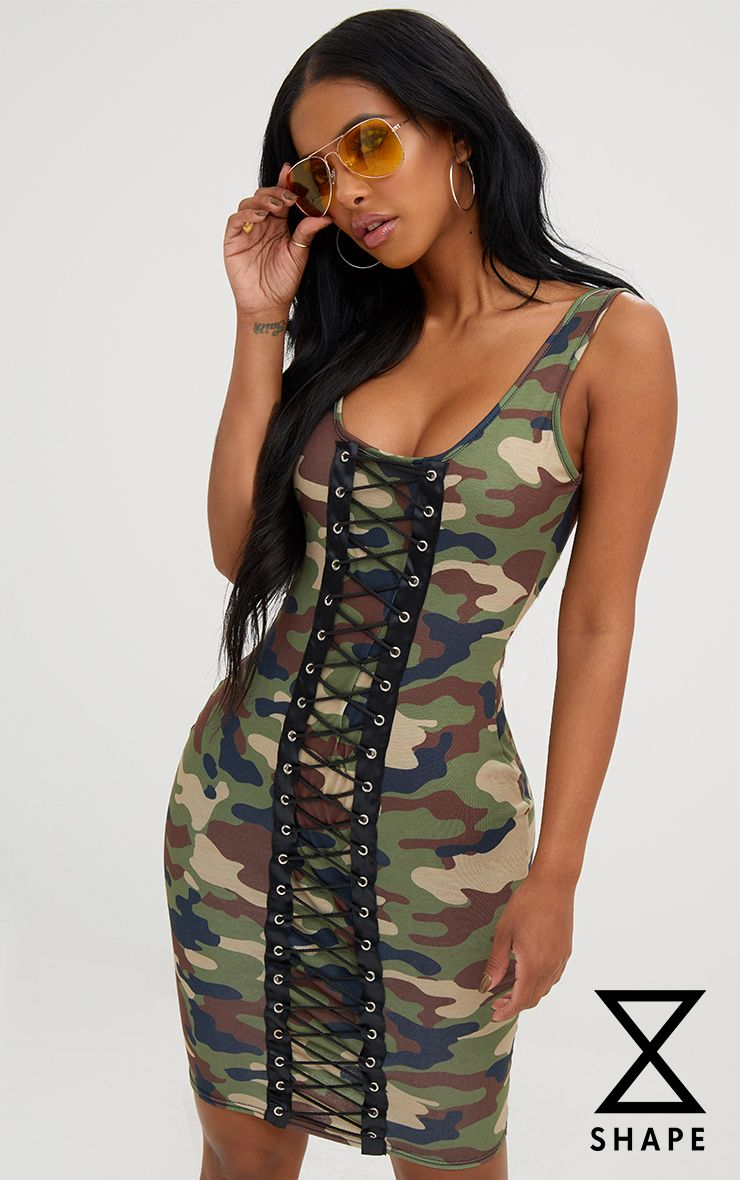 Shape Camo Lace Up Front Bodycon Dress
