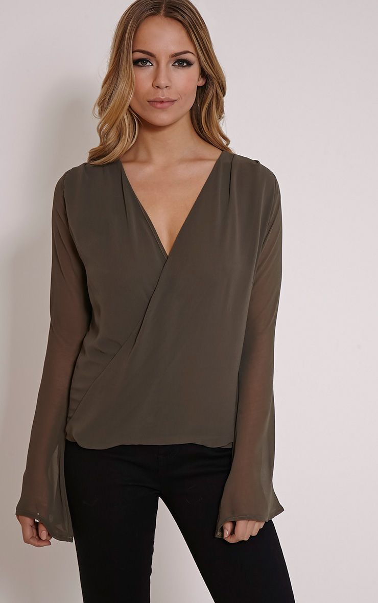 Armelle Khaki Chiffon Cross Over Top 1