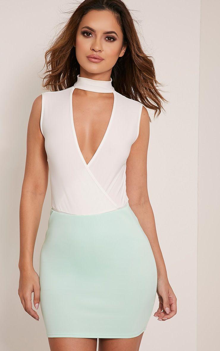 Milah Mint Scuba Mini Skirt 1
