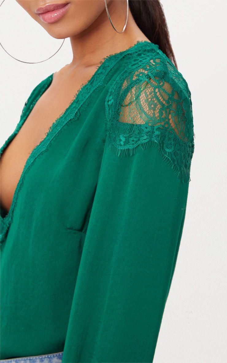 Emerald Green Eyelash Lace Longsleeve Plunge Blouse ...