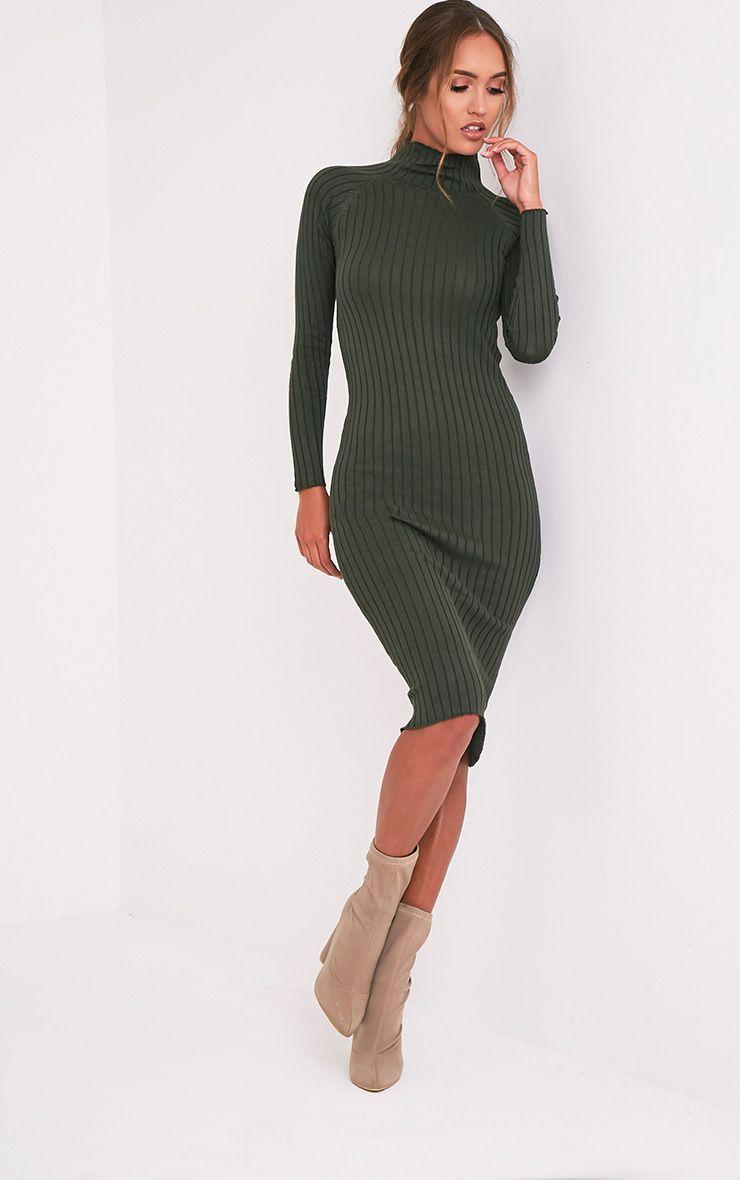 Katalina Khaki Wide Ribbed Knitted Midi Dress 4