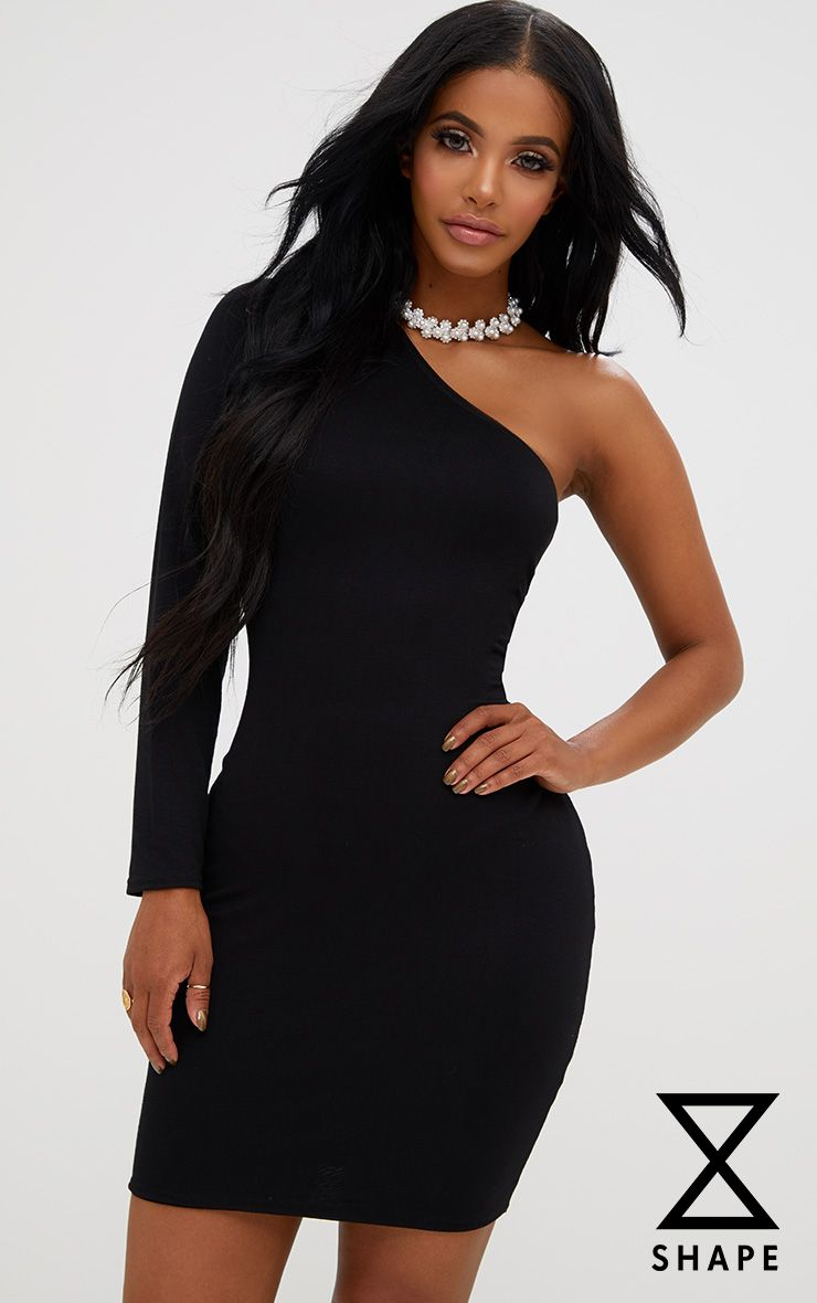 Shape Black One Shoulder Dress