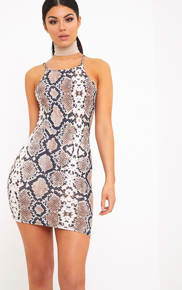 Ettie Taupe Snake Print Bodycon Dress
