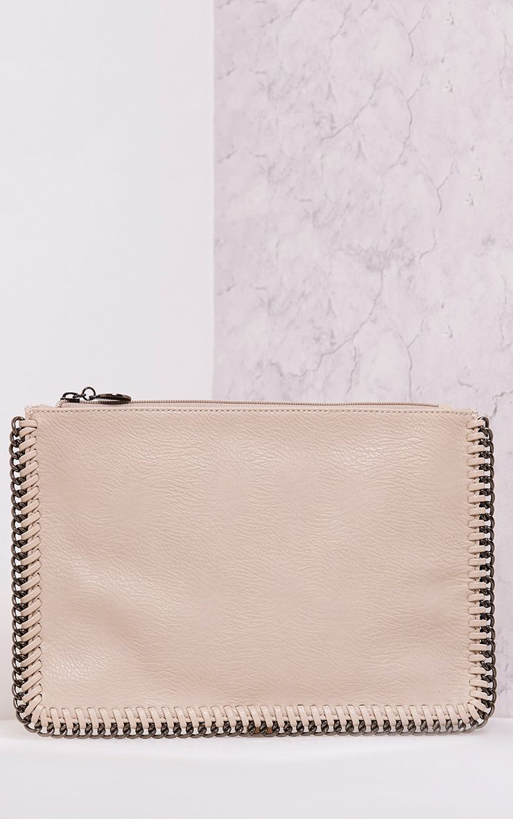 Wilfrie Beige Oversized Chain Detail Bag