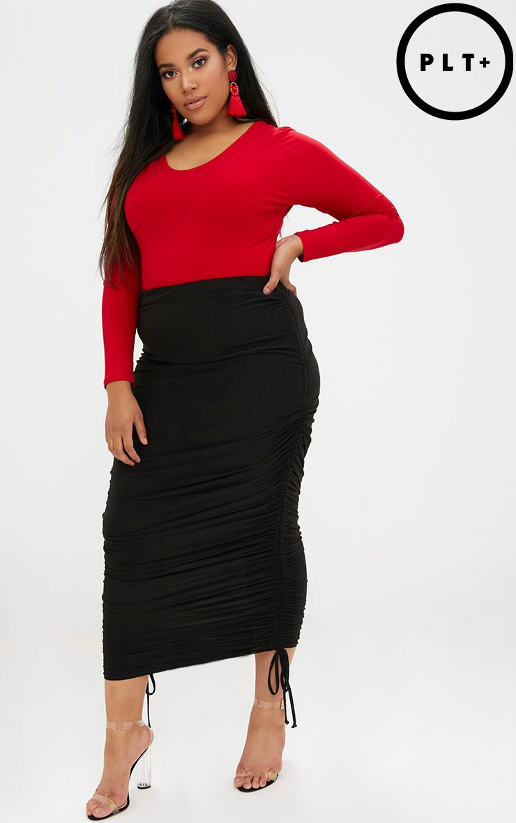 Plus Black Ruched Side Slinky Midaxi Skirt