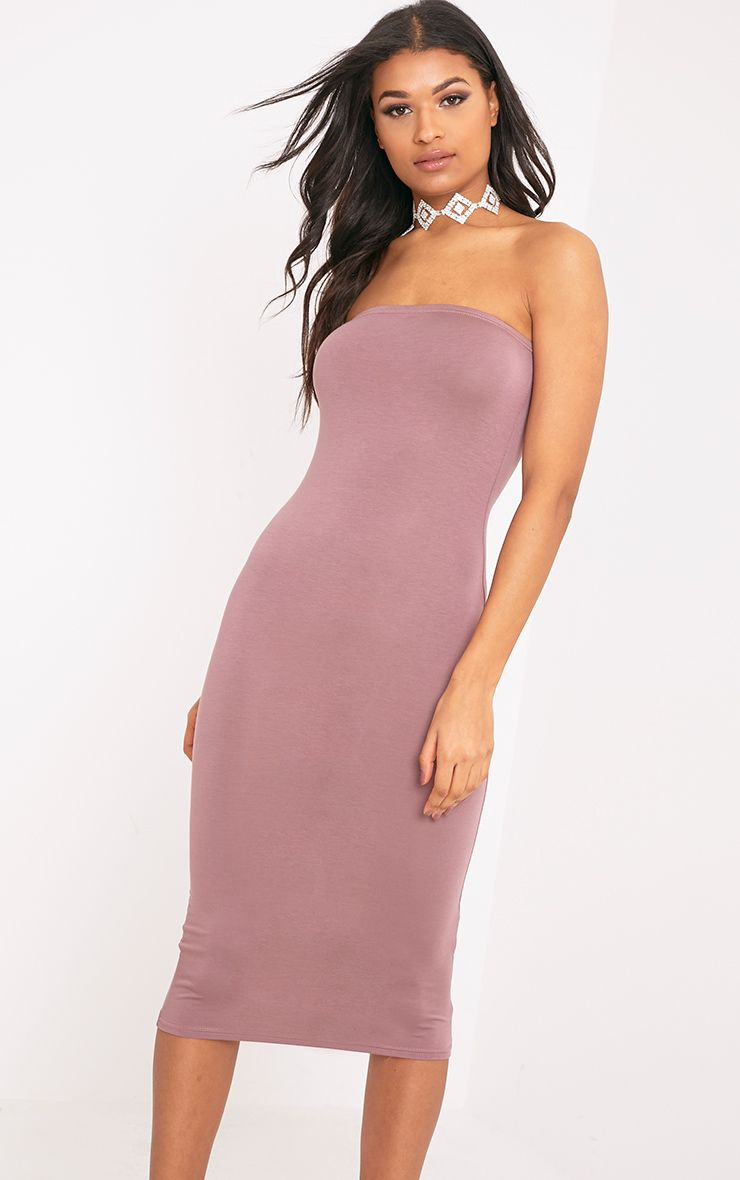 Basic Truffle Jersey Bandeau Midi Dress