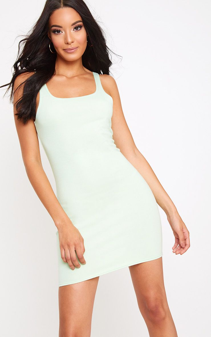 Mint Scoop Neck Bodycon Dress