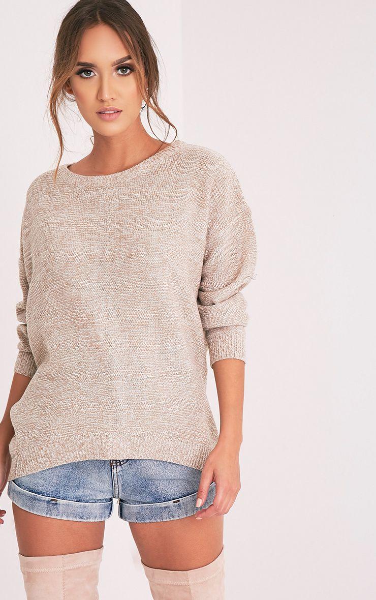 Hadiya Beige Zip Back Knitted Jumper 1