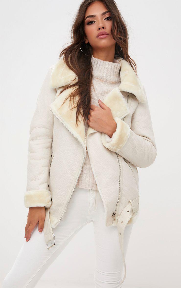 Cream PU Aviator Jacket