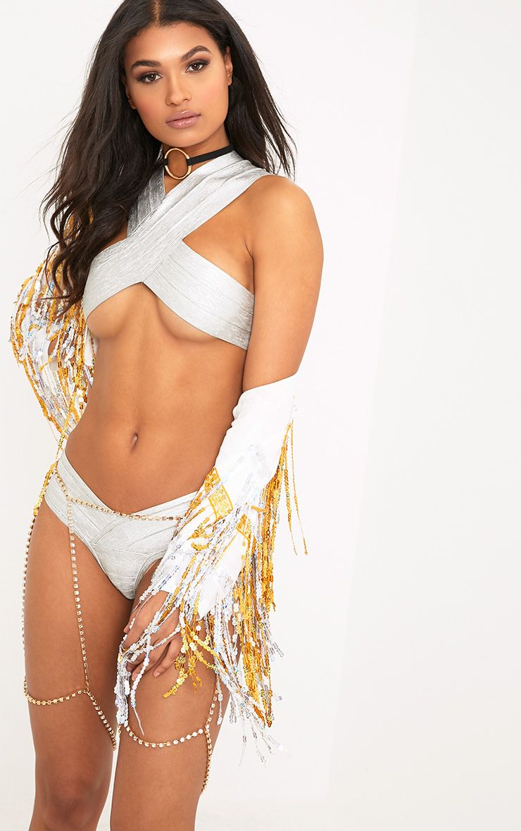 Saskia Silver Bandage Swim Bikini Set