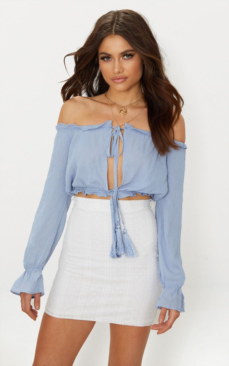 Baby Blue Bardot Double Tie Front Top  1