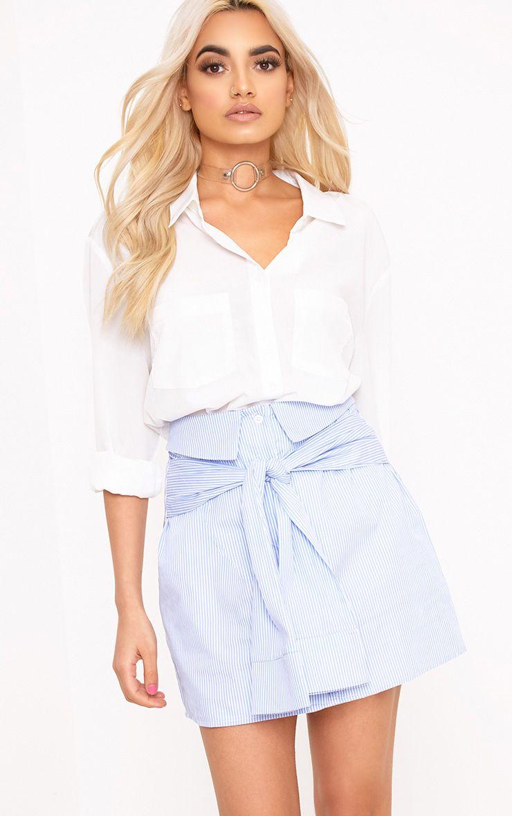 Bia Blue Pinstripe Shirt Skirt