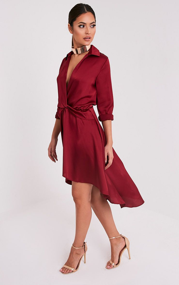 Gabbie Burgundy Silky Wrap Over Midi Dress  4