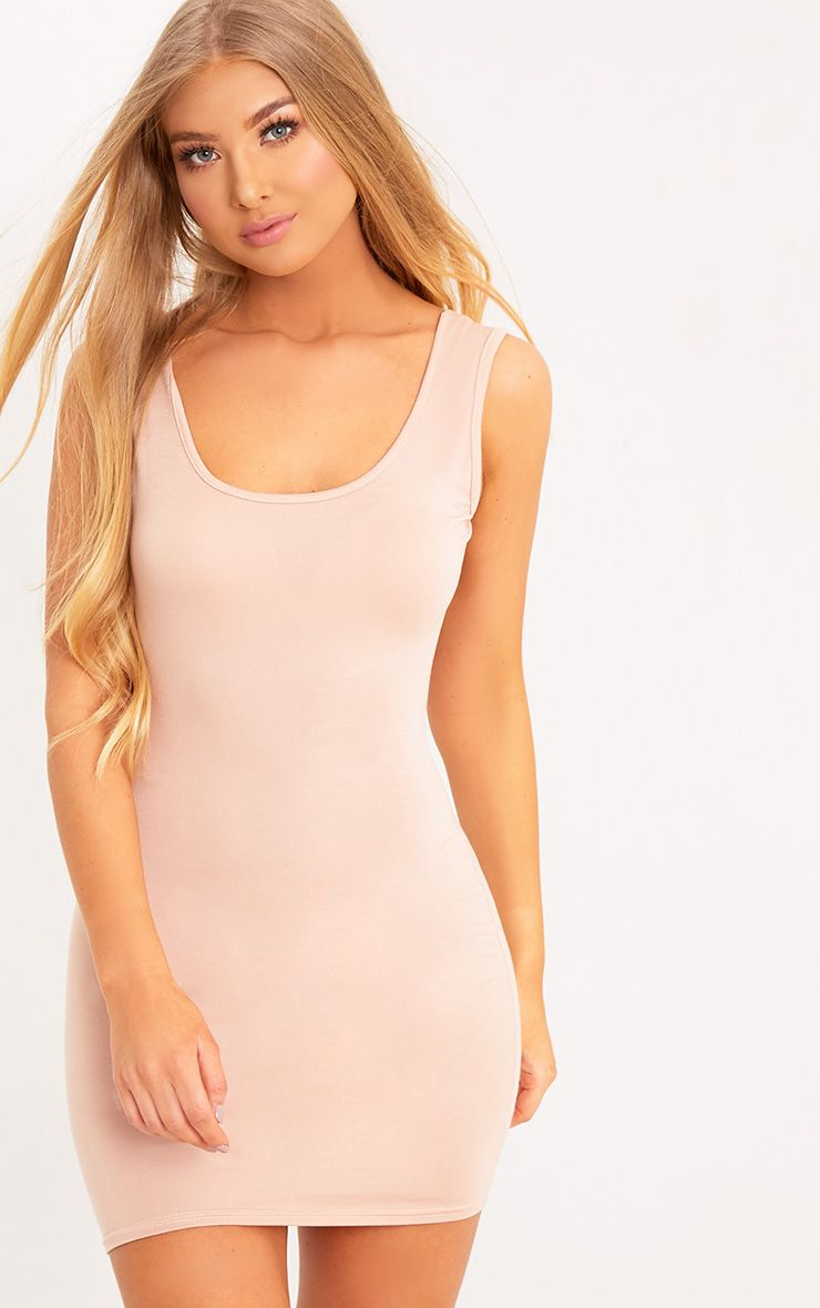 Basic Nude Scoop Neck Bodycon Dress