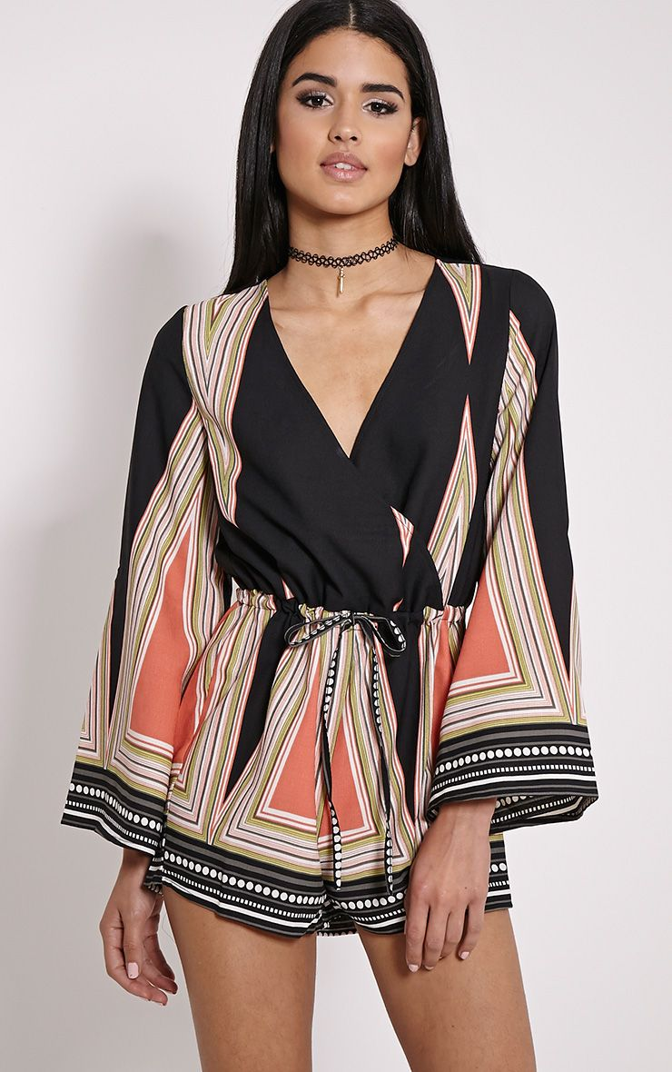 Lillia Black Geometric Batwing Playsuit
