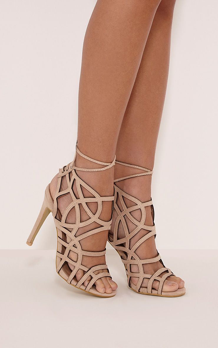 Salina Cream Faux Suede Cut Out Heeled Sandals 1