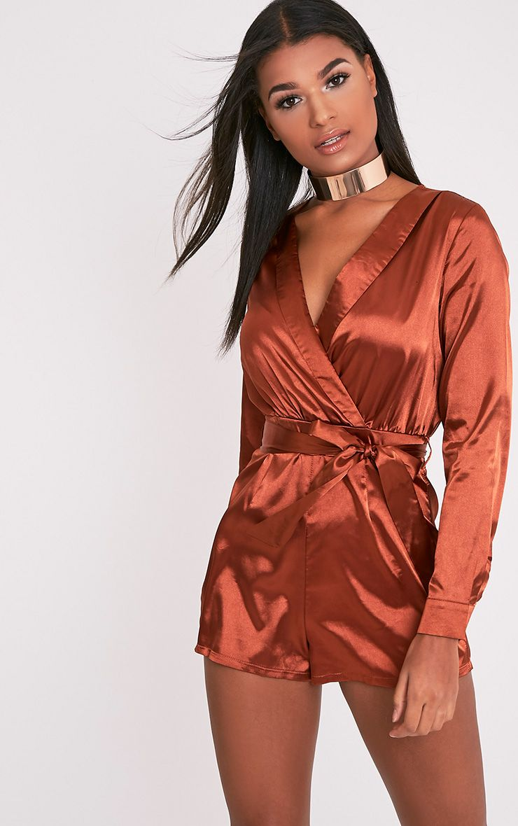 Amlie Tobbaco Satin Wrap Shirt Playsuit 1