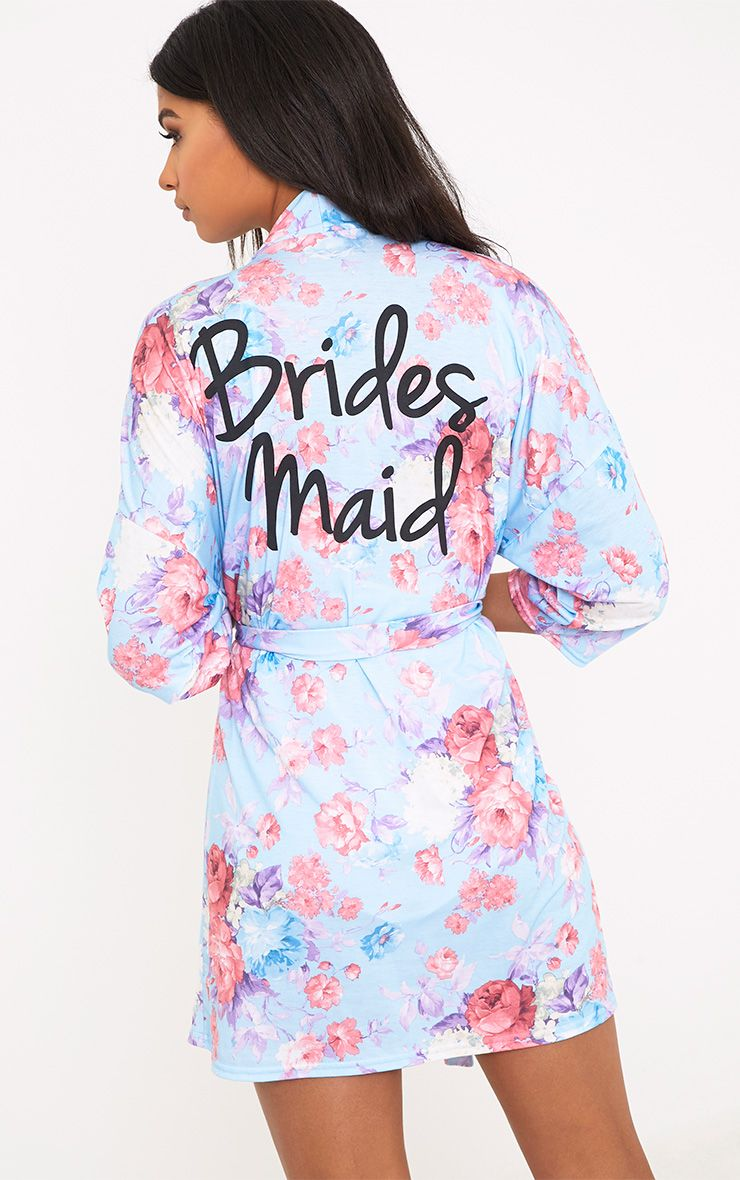 Bridesmaid Floral Blue Dressing Gown