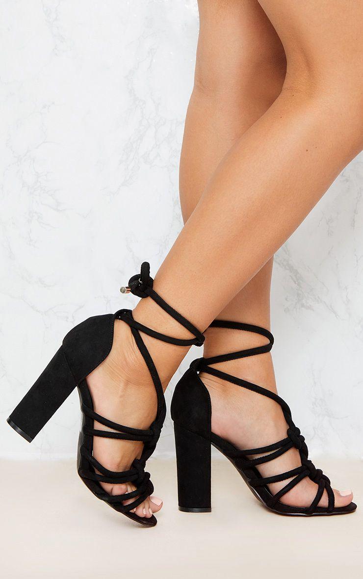 Black Knotted Rope Ankle Tie Block Heel