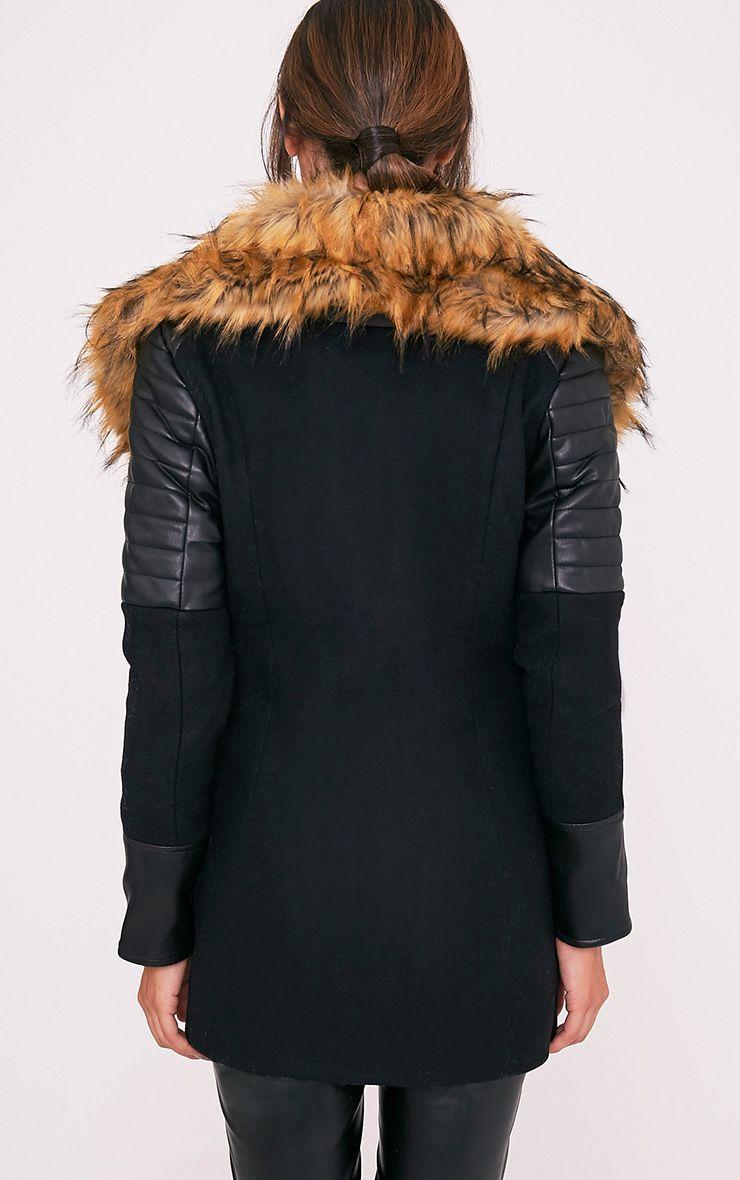Zilie manteau col en fausse fourrure noir 2