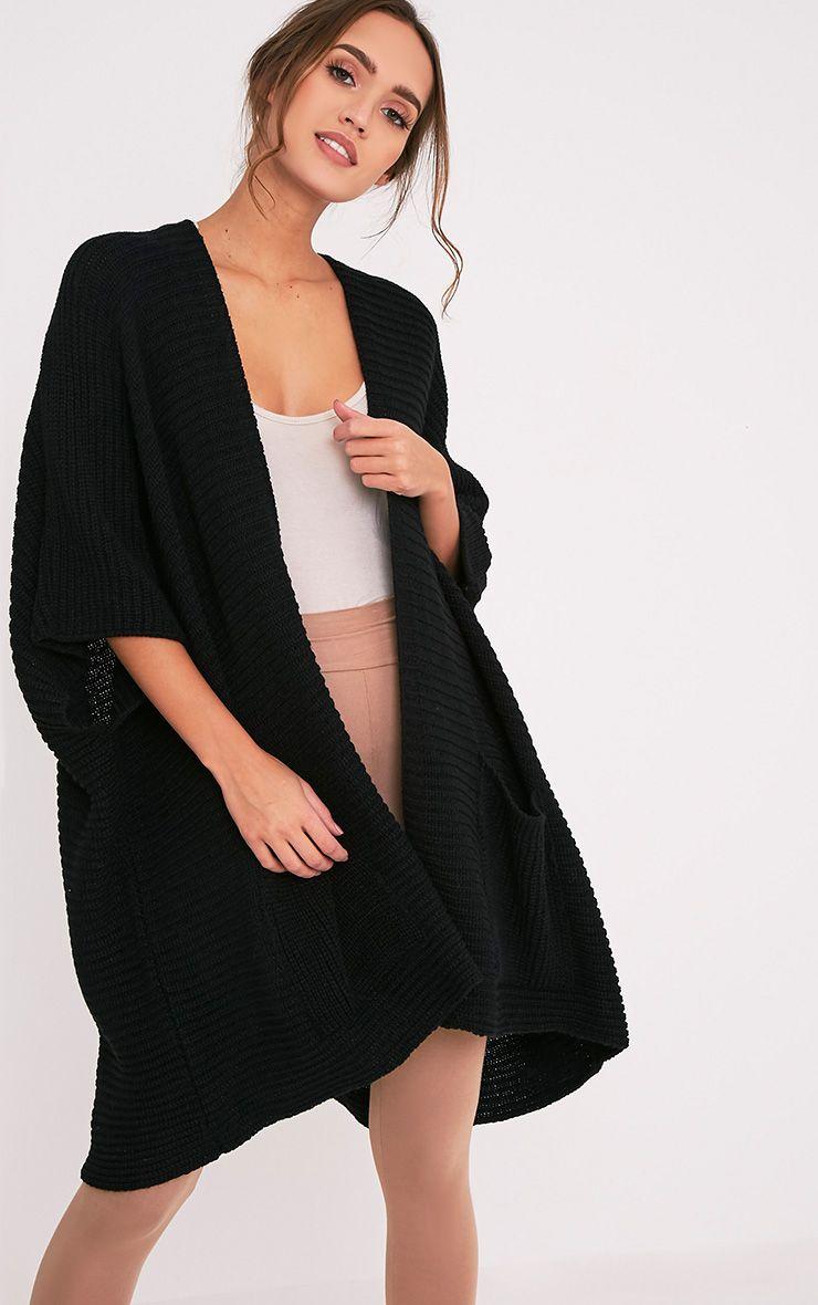 Yazmine Black Chunky Knit 3/4 sleeve Wrap Cardigan