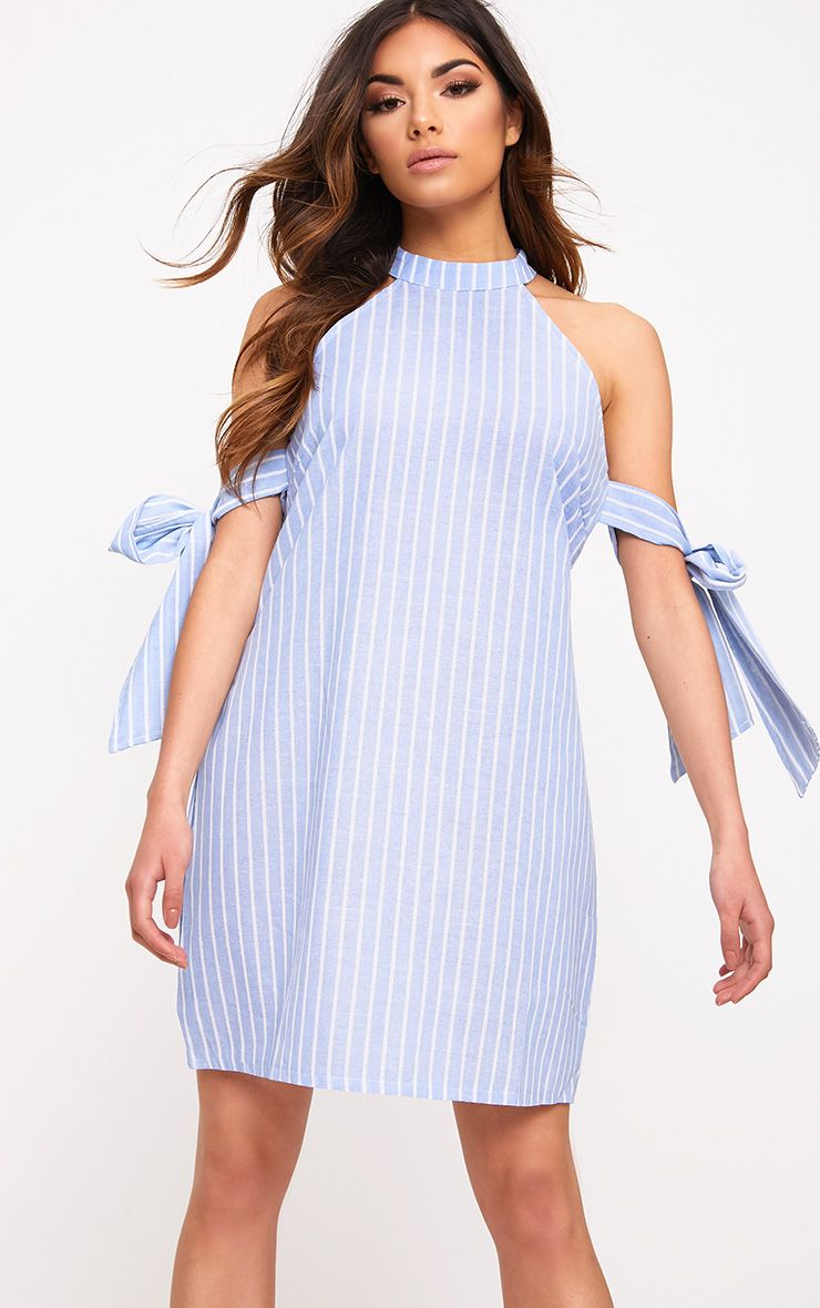 Blue Striped Tie Sleeve Shift Dress