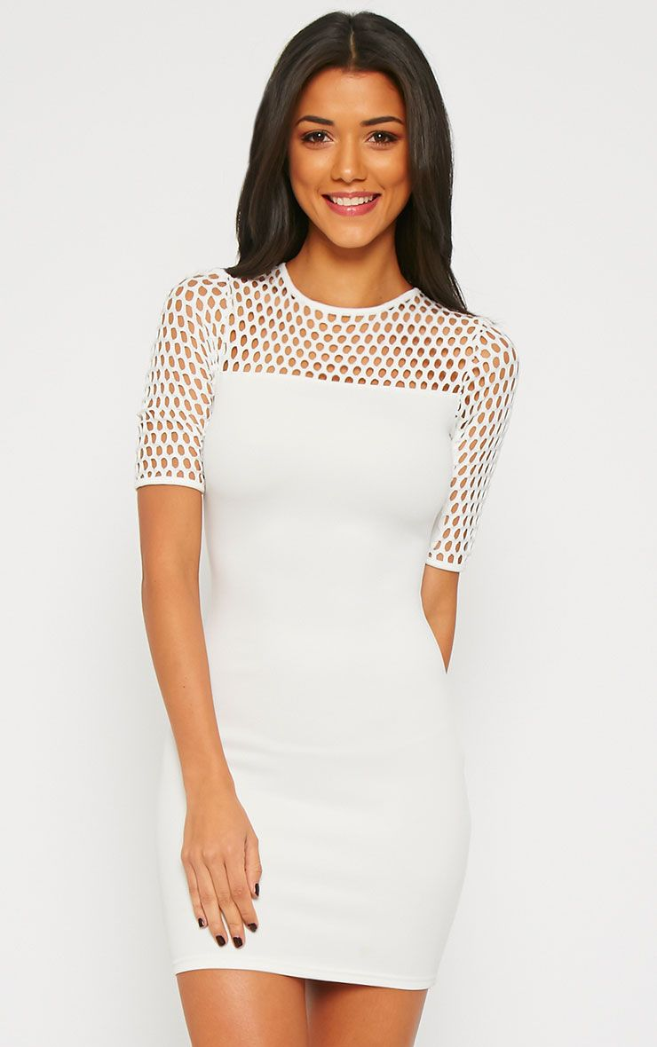 Julienna White Fish Net Insert Dress 1