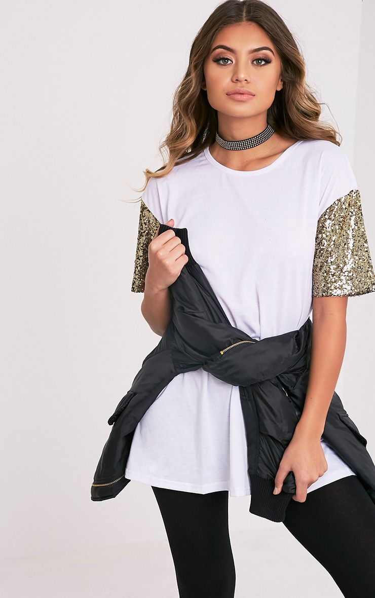 Rei White Sequin Sleeve Jersey Oversized T Shirt
