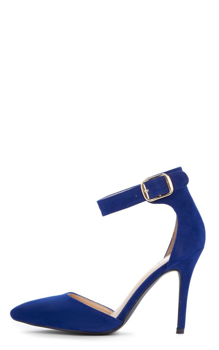Agyness Cobalt Suedette Ankle Strap Stiletto  1